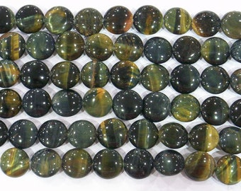 12mm Flat Round Blue Tiger Eye Bead Semiprecious Gemstone Bead Strand Wholesale Beads 6135 15''L Jewelry Supply Wholesale Beads