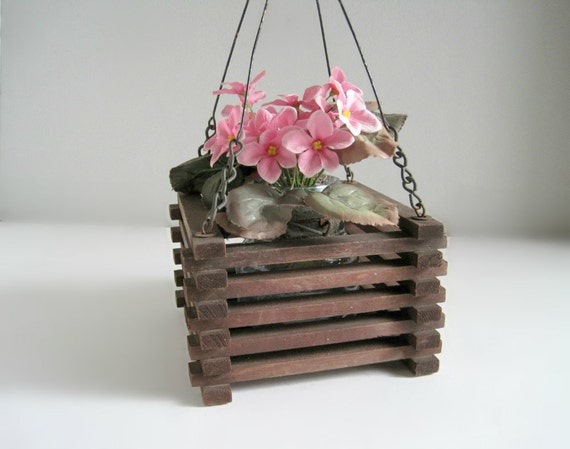 Vintage Rustic Wood Hanging Planter - Cottage Chic Garden