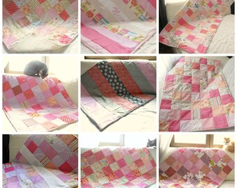Baby girl patchwork blanket, handmade by SandyOwn