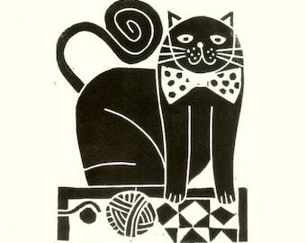 Black Cat Linocut - Whimsical Cat Art - Linocut - Mid Century - Modern Nursery Print  - Original Print Signed