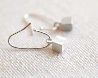 Sterling Silver Mini Cubism Earrings - Simple Geometry Collection