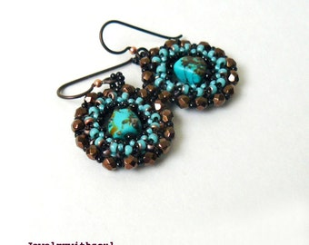Blue turquoise earrings, beaded hoop circle earrings with real genuine turquoise nuggets in turquoise blue green and black, gift for her