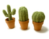 Pick One - Mini Crochet Knitted Cactus Fake Plant in Clay Pot