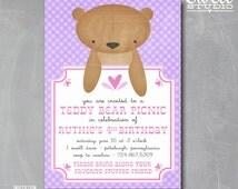 Teddy Bear Invitation Pink Purple Girl Birthday Party Invitation Printable Invite Teddy Bear Picnic