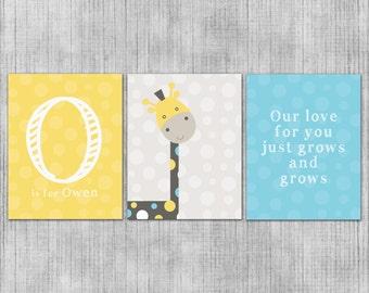 Custom Nursery Wall Art - Baby Giraffe and Polka Dots - Gray and Yellow - Baby or Kids Room - Set of 3 8x10 Prints