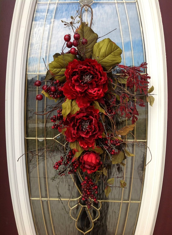 "Summer Wreath Gift Twig Teardrop Vertical Swag Door Decor...Use All Year Round..""Romantic Red"""