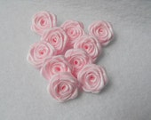 10 handmade roses mini ribbon flowers in pale pink