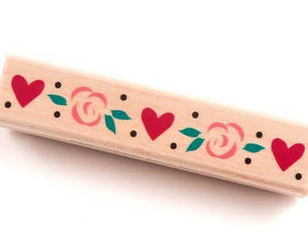 Wood Mounted Rubber Stamp - Rosy Heart Border