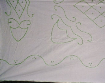 Simple Cotton Chenile Spread Jadite Green on White Shabby Bed Spread Coverlet for parts