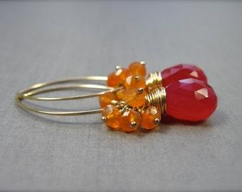 Pink Chalcedony and Carnelian Dangle Earrings, Gold Filled Gemstone Earrings, Pink Orange Neon Beach Wedding Jewelry, Fruit Punch