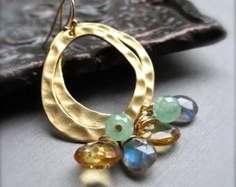 Labradorite, Citrine and Aventurine Dangle Earrings, Hammered Gold Hoop Earrings, Blue Gray Green Yellow Gemstone Cluster Earrings