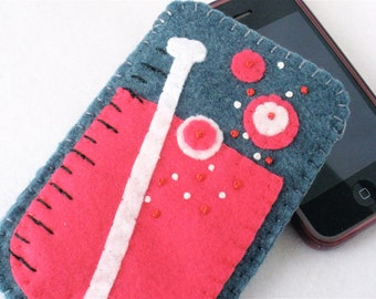 Lab Beaker Felt Phone Case, Chemist Phone Case, Watermelon Pink Geek,  iPhone,  Android