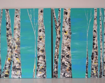 MADE TO ORDER: Multi Panel Woodland Cabin Nature Teal Blues Winter Woods Abstract Textured Aspen Tree Scene, Diptych