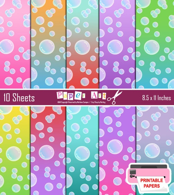 INSTANT DOWNLOAD Printable Bubbles Colored By PaperArtbyMC