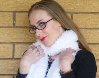 White yeti fuzzy scarf