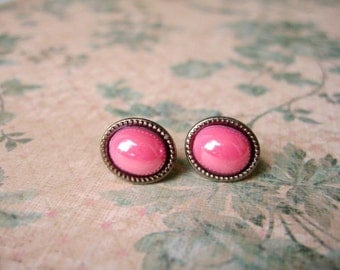 Pink Bubble Earrings, Pink Erings, Pink Resin Earrings, Pink Bubble Stud