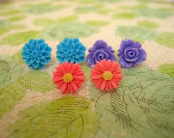Blue Purple Pink Resin Flower Earrings, Resin Earrings, Resin Cabochons, Cabochons Earrings, Flower Earrings, Rose Earrings - 3 Pairs