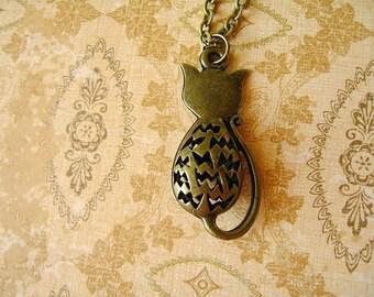 Cat Necklace, Antiqued Bronze Cat Necklace, Cat Antiqued Bronze Necklace