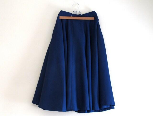 navy blue skirt vintage womens midi skirt by alacloth
