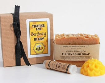 Thanks for Bee-lieving in Me - Teacher Gift Set, small with choice of soap, lipbalm and a beeswax flower candle