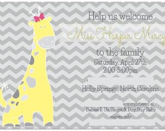 5x7 Baby Giraffe Shower Invitations