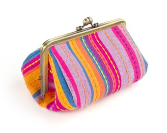 Metal frame capacious pouch // Cherry Pink Multi Stripe