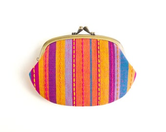 Metal frame compartment purse wallet // Cherry Pink Multi Stripe