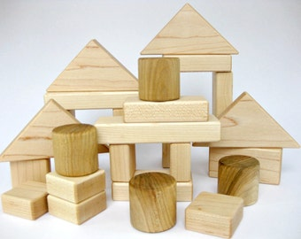 Wooden Building Blocks Set of 26, wood toddler toy