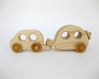 Wood Toy Car and Camper Set, natural kids toy