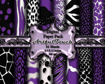 "Animal Print Purple Digital Paper Pack for Digital Scrapbooking Card Making 16 Digital Background 8.5"" X 11"" 300 DPI, INSTANT DOWNLOAD"