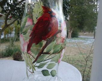 Cardinal dogwood hurricane candle holder