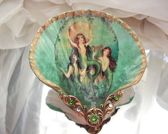 Mermaid Trio Shell Small Jewelry Dish