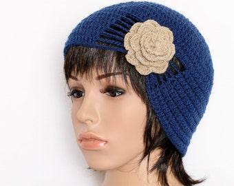 Blue Hat  Knit Hat  Knit Cap