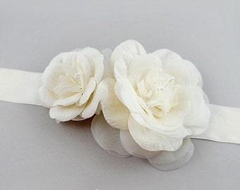 Silk Dupioni Bridal Sash Belt Ivory Bridal Flower Sash, Bridal Floral Sash Flower Bridal Sash Floral Wedding Sash, Floral Sash Flower Belt