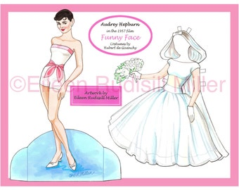 """Audrey Hepburn in """"Funny Face"""" paper doll"""
