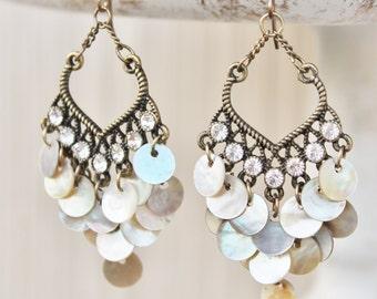 Shell Chandeleir Earrings, Mother of Pearl, Long Dangle, Rhinestone, Antique Brass, Long Dangle Earrings, Summer, Glam, Boho, Beach Wedding