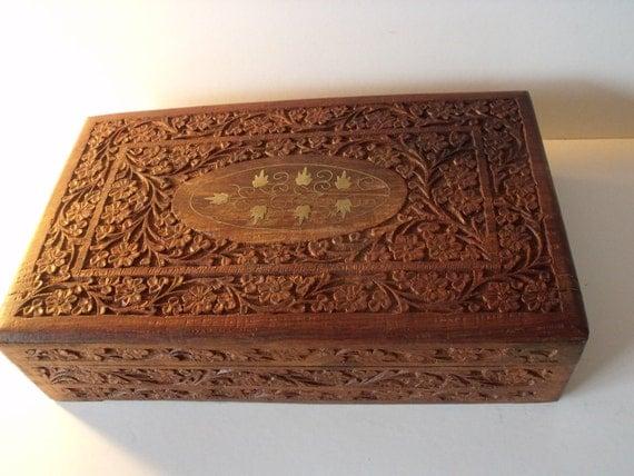 Sale Antique Art Nouveau Style Wood Jewelry Cigar Box Hand