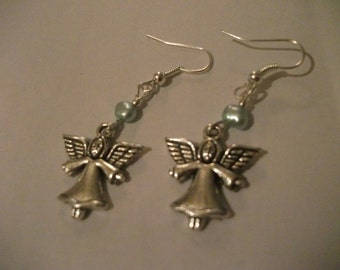 SILVER ANGEL EARRINGS, Tibetan silver, hearts, blue freshwater pearls, jewelry, affordable