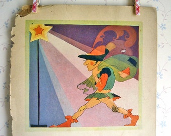 Vintage Art Deco Mother Goose Illustration - Peter Pumpkin Eater