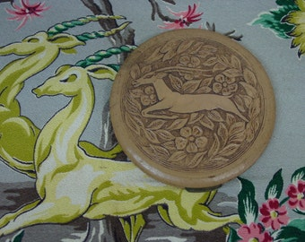 Nice Vintage Art Deco Large Compact, Gazelle,Flowers, Leather