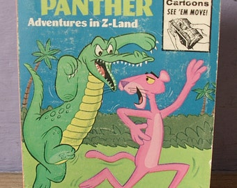 vintage The Pink Panther Whitman Big Little Book, adventures in Z Land, 1976, illustrated book, comic book, alligator cat, collectible book