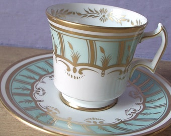 Antique Royal Chelsea hand painted tea cup set, powder blue tea cup, English tea cup and saucer, blue and gold tea set, bone china tea cup