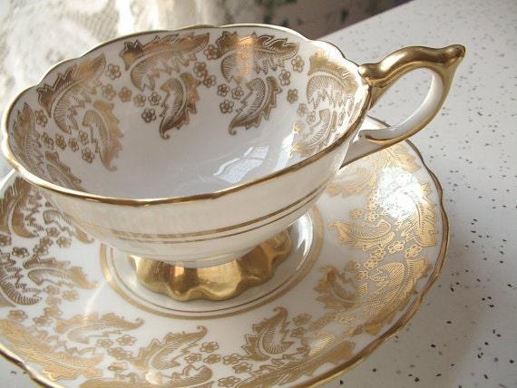 vintage gold tea cup royal stafford english tea by. Black Bedroom Furniture Sets. Home Design Ideas