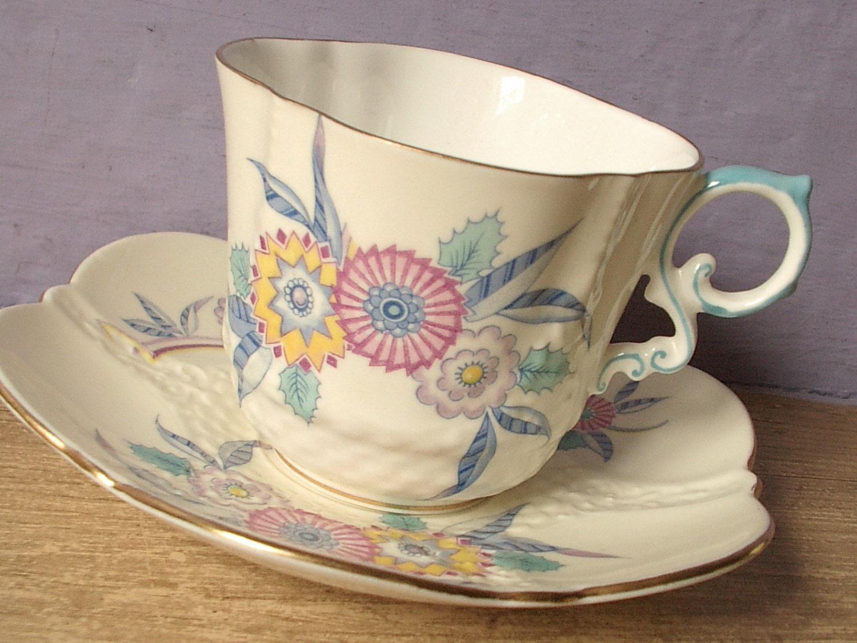 antique art deco tea cup and saucer set vintage by. Black Bedroom Furniture Sets. Home Design Ideas