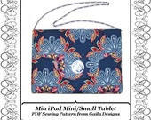 """iPad Mini small tablet case cover flap and closure variations PDF sewing pattern padded """"Mia"""""""