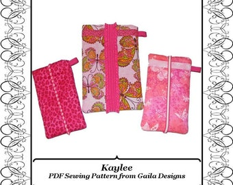 """PDF Sewing Pattern iPhone 4-7, iPhone 6+, 7+ cover Camera Case iPod sleeve padded 3 sizes with or without pocket """"Kaylee"""""""