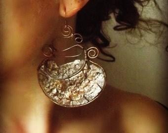 Copper earrings, wire wrapped earring, moon earrings, half moon earrings, handmade earrings, Jewelry Handmade, rustic earrings