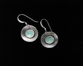 Silver, double bowl, dangle earrings, with light green interior