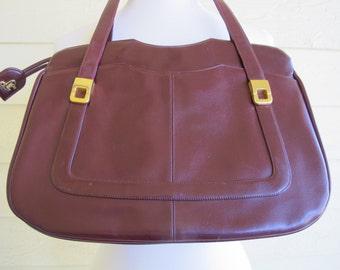 70s Brown Leather Purse / Vintage Lou Taylor Handbag / Oxblood