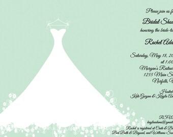 Printed Bridal Shower Invitation - Mint Green Wedding Gown -  Bridal Luncheon, Bridal Tea Invitation, includes envelopes